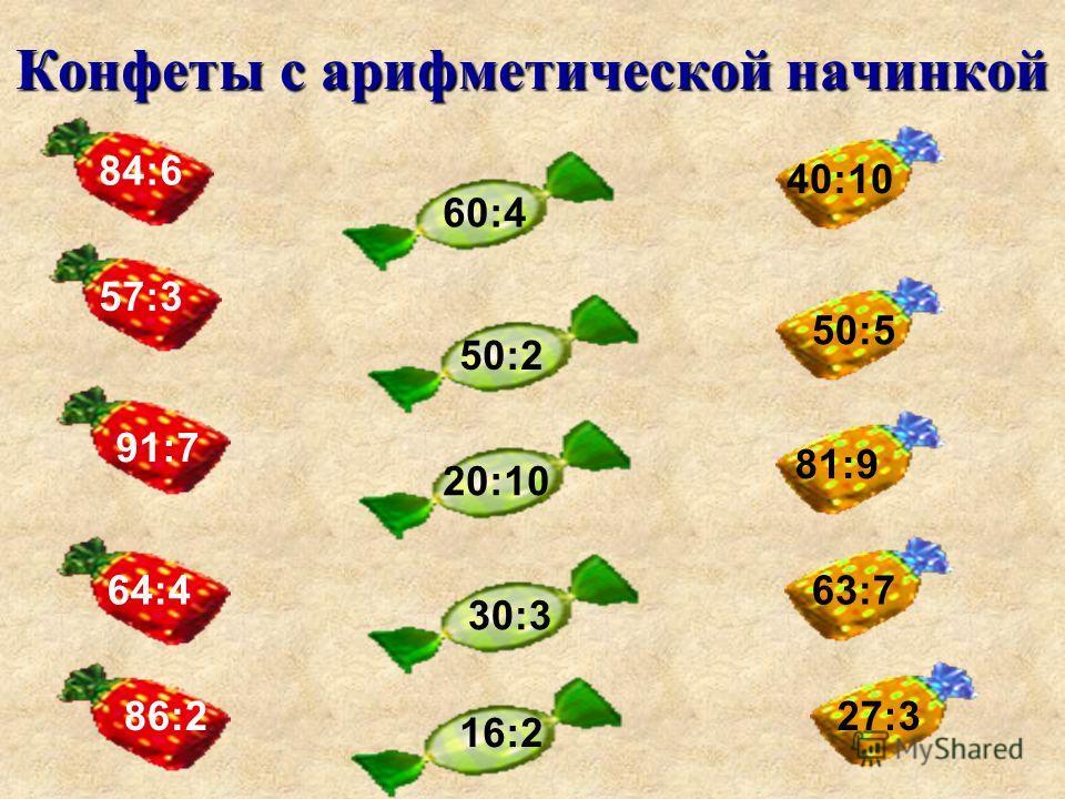 Конфеты с арифметической начинкой 4 17 6 13 7 12 3 14 16 4 13 4 11 3 6 3 4 9 7 8 5 9 8 9 8 9 = 42 = 68 = 78 = 84 = 54 = 64 = 52 = 18 = 33 = 36 = 56 = 45 = 64 = 72 = 81 3 18