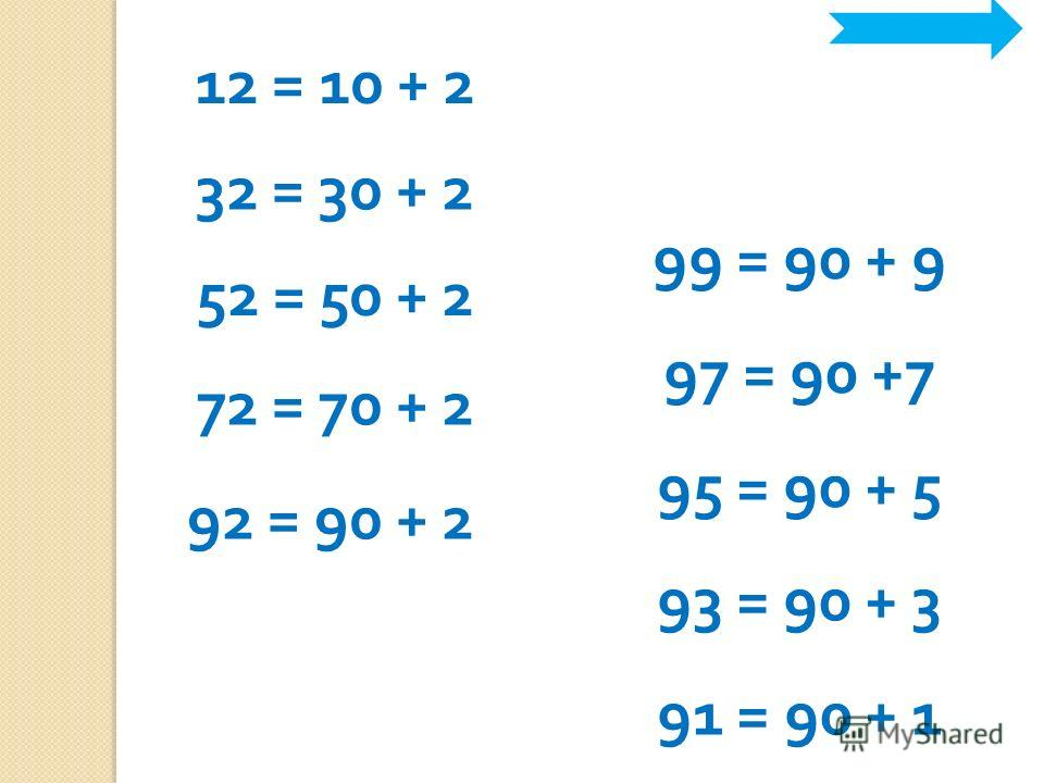 12 = 10 + 2 32 = 30 + 2 52 = 50 + 2 72 = 70 + 2 92 = 90 + 2 99 = 90 + 9 97 = 90 +7 95 = 90 + 5 93 = 90 + 3 91 = 90 + 1