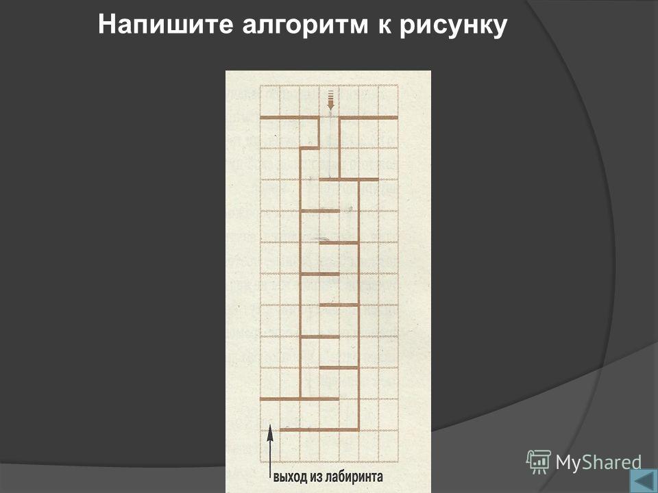 Напишите алгоритм к рисунку