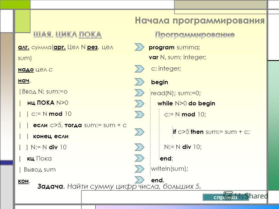 Начала программирования Задача. Найти сумму цифр числа, больших 5. алг. сумма ( арг. Цел N рез. цел sum) надо цел c нач. |Ввод N; sum:=o | нц ПОКА N>0 | | c:= N mod 10 | | если c>5, тогда sum:= sum + c | | конец если | | N:= N div 10 | кц Пока | Выво