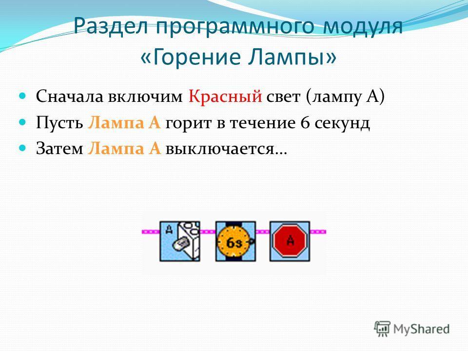 Раздел программного модуля «Горение Лампы» Сначала включим Красный свет (лампу А) Пусть Лампа А горит в течение 6 секунд Затем Лампа А выключается…