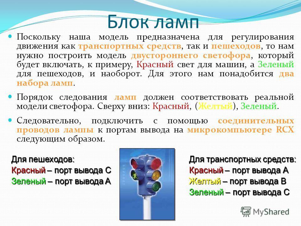 Блок ламп Поскольку наша модель предназначена для регулирования движения как транспортных средств, так и пешеходов, то нам нужно построить модель двустороннего светофора, который будет включать, к примеру, Красный свет для машин, а Зеленый для пешехо