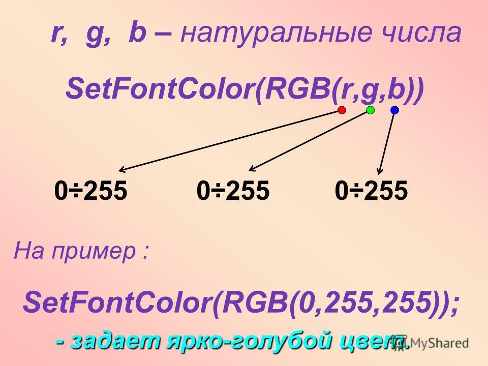SetFontColor(RGB(r,g,b)) r, g, b – натуральные числа На пример : SetFontColor(RGB(0,255,255)); - задает ярко-голубой цвет. 0÷255