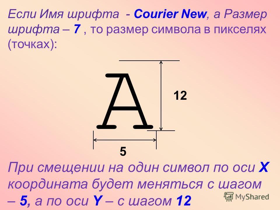 А Если Имя шрифта - Courier New, а Размер шрифта – 7, то размер символа в пикселях (точках): 5 12 При смещении на один символ по оси Х координата будет меняться с шагом – 5, а по оси Y – с шагом 12