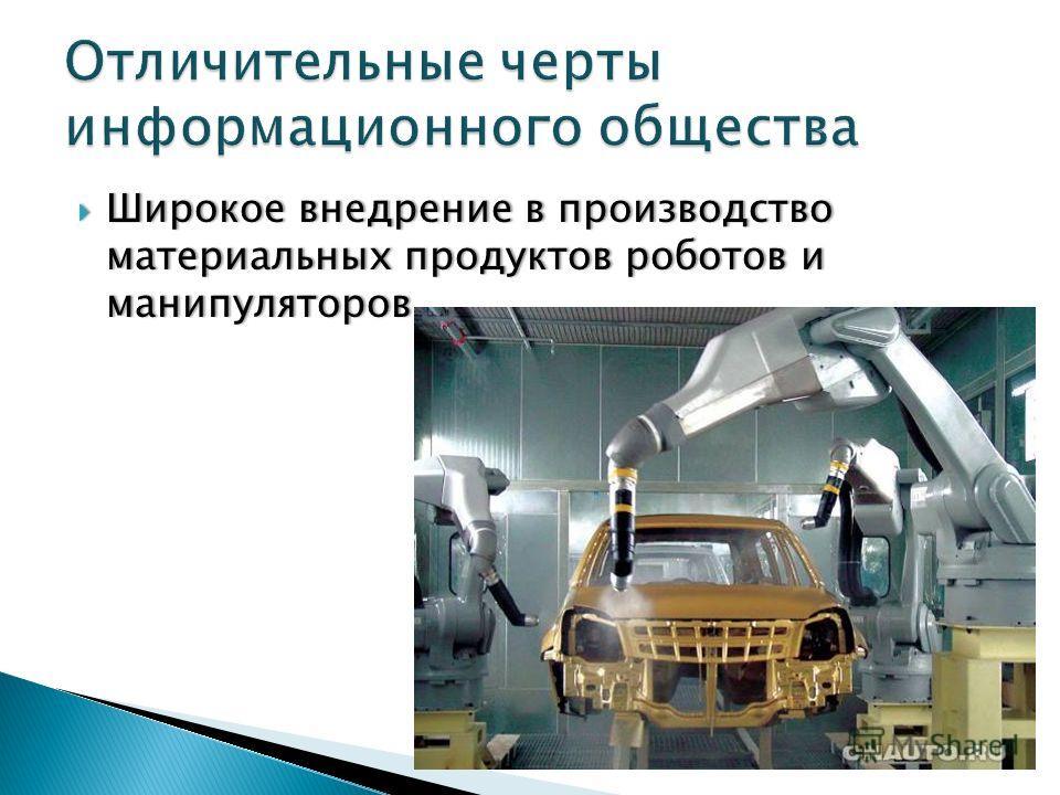 Широкое внедрение в производство материальных продуктов роботов и манипуляторов Широкое внедрение в производство материальных продуктов роботов и манипуляторов