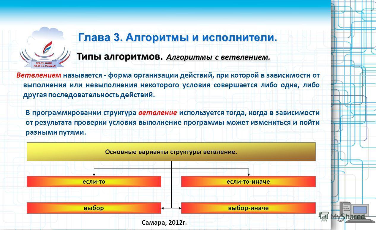 Ветвлением называется - форма организации действий, при которой в зависимости от выполнения или невыполнения некоторого условия совершается либо одна, либо другая последовательность действий. Самара, 2012г. Глава 3. Алгоритмы и исполнители. Типы алго