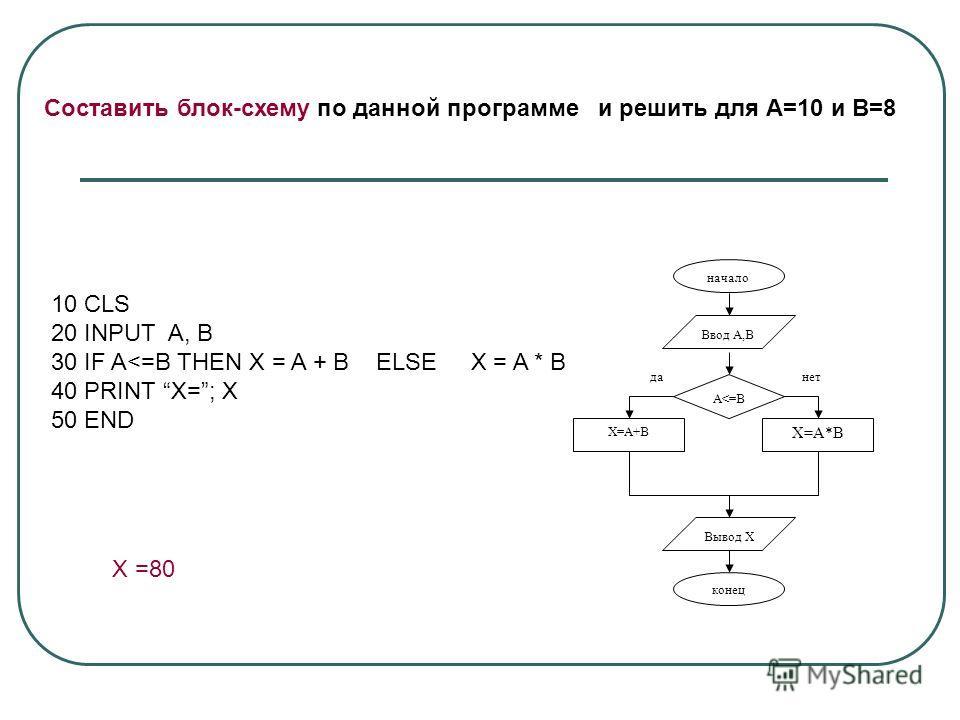 Составить блок-схему по данной программе и решить для А=10 и В=8 10 CLS 20 INPUT A, B 30 IF A