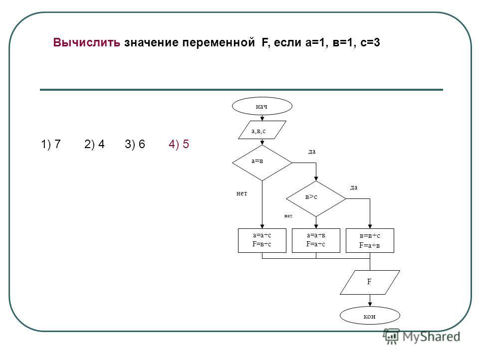 Вычислить значение переменной F, если а=1, в=1, с=3 да нач а,в,с а=в в>с а=а+с F=в+c а=а+в F=а+с в=в+с F=а+в F кон да нет 1) 7 2) 4 3) 6 4) 5