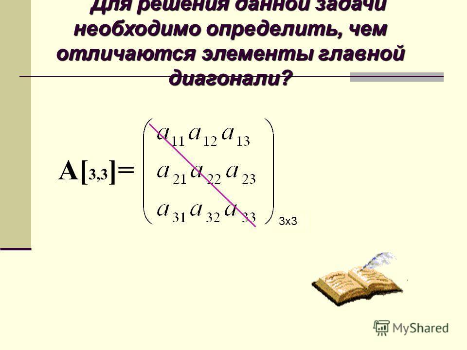 Для решения данной задачи необходимо определить, чем отличаются элементы главной диагонали? А[ 3,3 ]= 3x3
