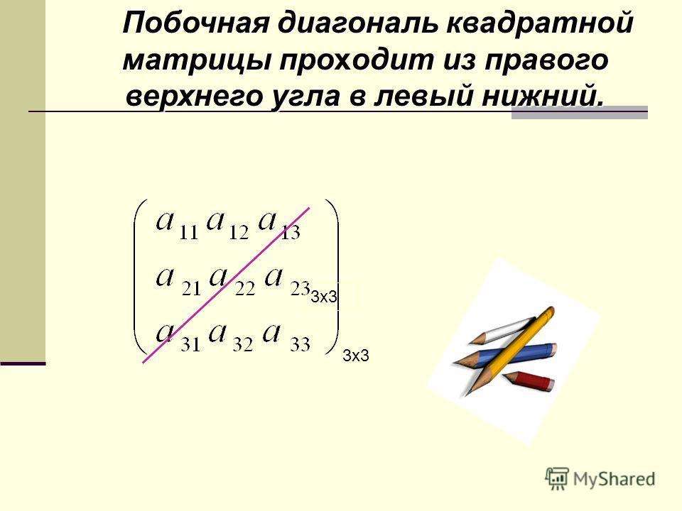 Побочная диагональ квадратной матрицы проодит из правого верхнего угла в левый нижний. Побочная диагональ квадратной матрицы проходит из правого верхнего угла в левый нижний. А[ 3,3 ]= 3x3
