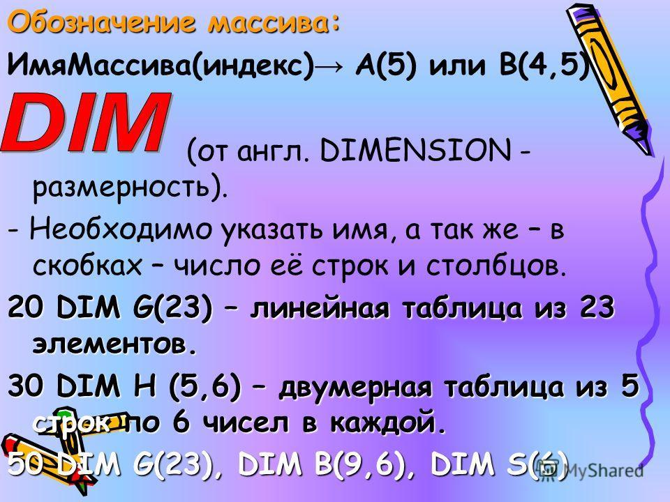 Обозначение массива: ИмяМассива(индекс) А(5) или В(4,5) (от англ. DIMENSION - размерность). - Необходимо указать имя, а так же – в скобках – число её строк и столбцов. 20 DIM G(23) – линейная таблица из 23 элементов. 30 DIM H (5,6) – двумерная таблиц