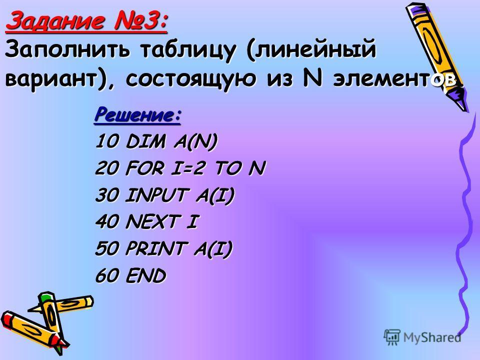 Задание 3: Заполнить таблицу (линейный вариант), состоящую из N элементов. Решение: 10 DIM A(N) 20 FOR I=2 TO N 30 INPUT A(I) 40 NEXT I 50 PRINT A(I) 60 END