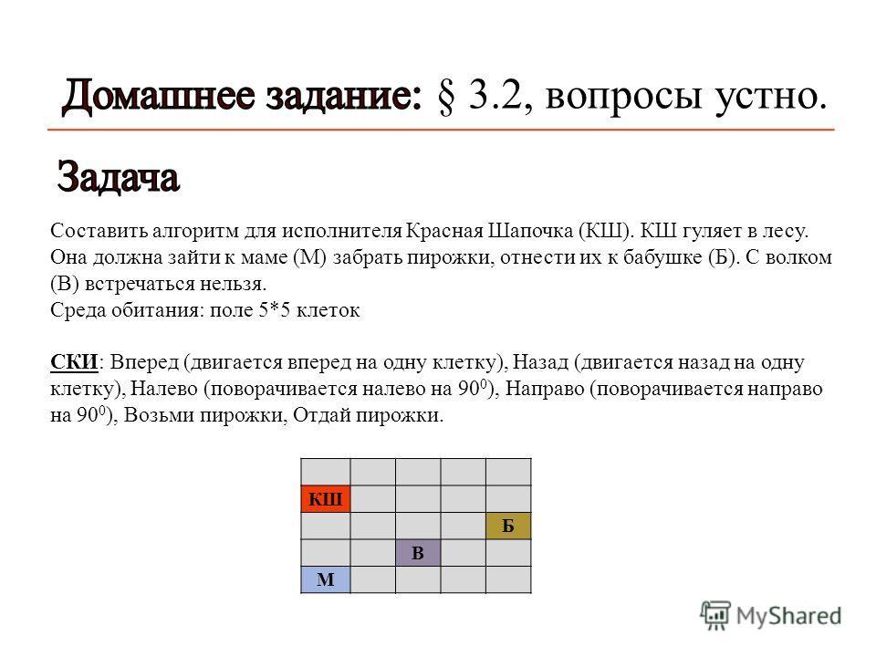 Составить алгоритм для исполнителя Красная Шапочка ( КШ ). КШ гуляет в лесу. Она должна зайти к маме ( М ) забрать пирожки, отнести их к бабушке ( Б ). С волком ( В ) встречаться нельзя. Среда обитания : поле 5*5 клеток СКИ : Вперед ( двигается впере