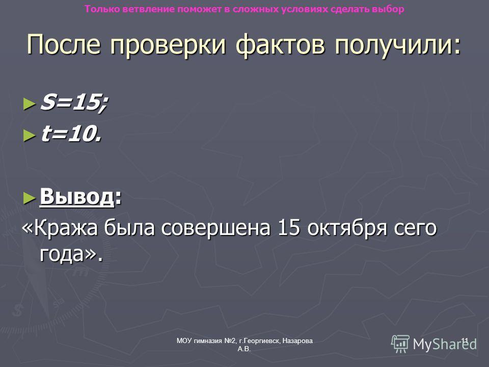 МОУ гимназия 2, г.Георгиевск, Назарова А.В. 11 После проверки фактов получили: S=15; S=15; t=10. t=10. Вывод: Вывод: «Кража была совершена 15 октября сего года». Только ветвление поможет в сложных условиях сделать выбор