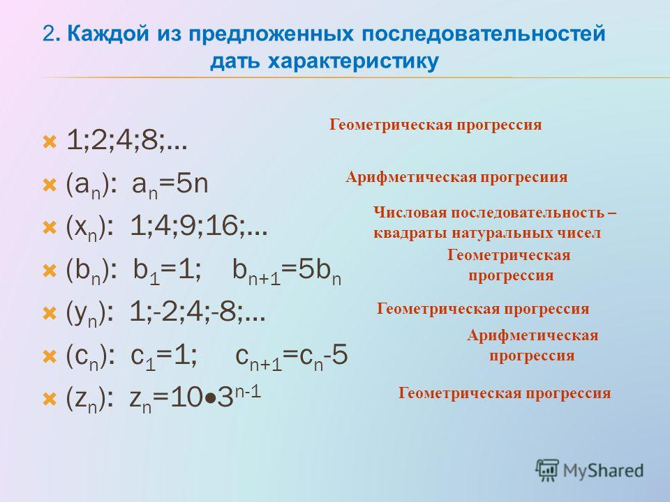 1;2;4;8;… (a n ): a n =5n (x n ): 1;4;9;16;… (b n ): b 1 =1; b n+1 =5b n (y n ): 1;-2;4;-8;… (с n ): с 1 =1; c n+1 =c n -5 (z n ): z n =10 3 n-1 Геометрическая прогрессия Арифметическая прогресиия Числовая последовательность – квадраты натуральных чи