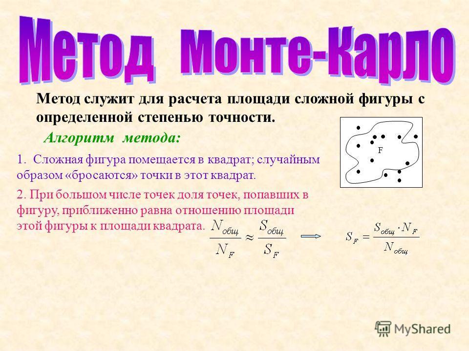 Метод служит для расчета площади сложной фигуры с определенной степенью точности. F Алгоритм метода: 1. Сложная фигура помещается в квадрат; случайным образом «бросаются» точки в этот квадрат. 2. При большом числе точек доля точек, попавших в фигуру,