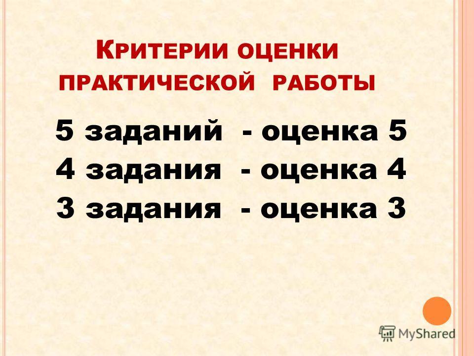 К РИТЕРИИ ОЦЕНКИ ПРАКТИЧЕСКОЙ РАБОТЫ 5 заданий - оценка 5 4 задания - оценка 4 3 задания - оценка 3