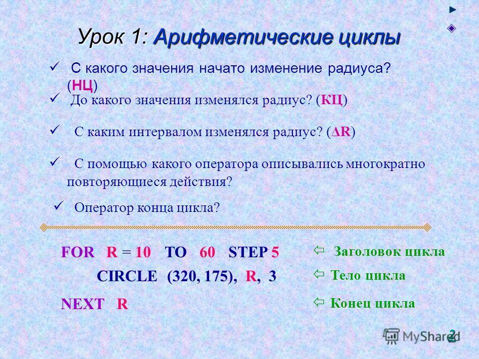 Урок 1: Арифметические циклы 8 Урок 1: Арифметические циклы С какого значения начато изменение радиуса? (НЦ) До какого значения изменялся радиус? (КЦ) С каким интервалом изменялся радиус? (ΔR) FOR R = 10TO 60STEP 5 С помощью какого оператора описывал