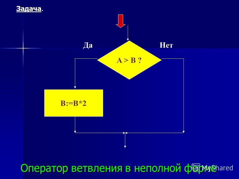ДаНет A > B ? B:=B*2 Оператор ветвления в неполной форме Задача.