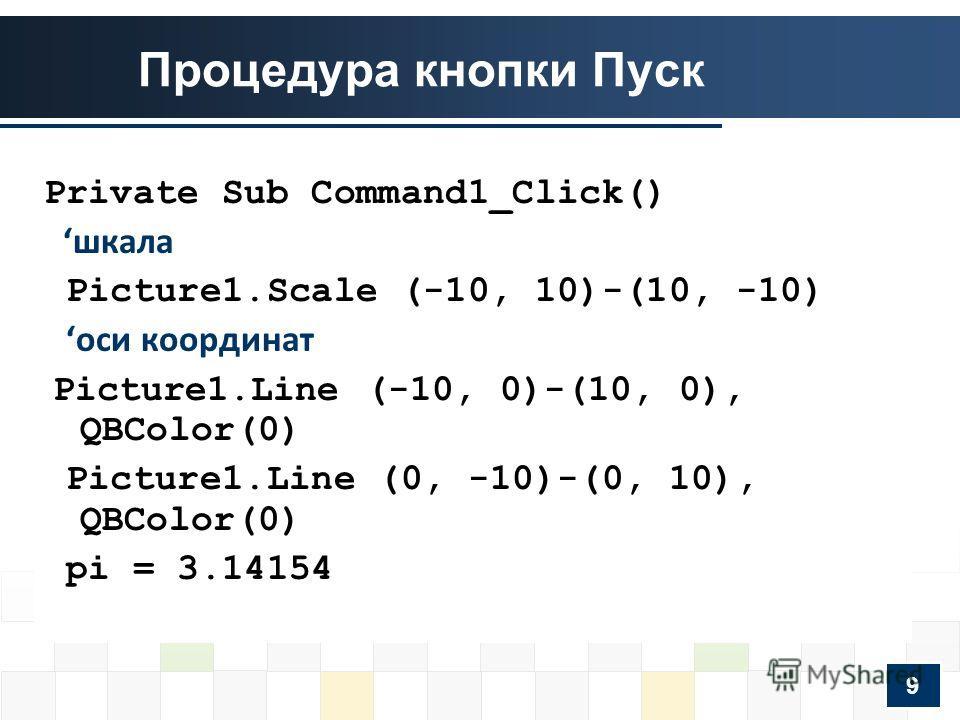 Процедура кнопки Пуск Private Sub Command1_Click() шкала Picture1.Scale (-10, 10)-(10, -10) оси координат Picture1.Line (-10, 0)-(10, 0), QBColor(0) Picture1.Line (0, -10)-(0, 10), QBColor(0) pi = 3.14154 9