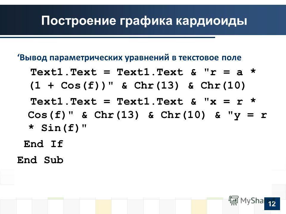 Построение графика кардиоиды Вывод параметрических уравнений в текстовое поле Text1.Text = Text1.Text & r = a * (1 + Cos(f)) & Chr(13) & Chr(10) Text1.Text = Text1.Text & x = r * Cos(f) & Chr(13) & Chr(10) & y = r * Sin(f) End If End Sub 12