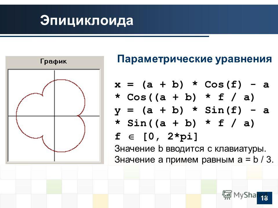 Эпициклоида Параметрические уравнения x = (a + b) * Cos(f) - a * Cos((a + b) * f / a) y = (a + b) * Sin(f) - a * Sin((a + b) * f / a) f [0, 2*pi] Значение b вводится с клавиатуры. Значение a примем равным a = b / 3. 18