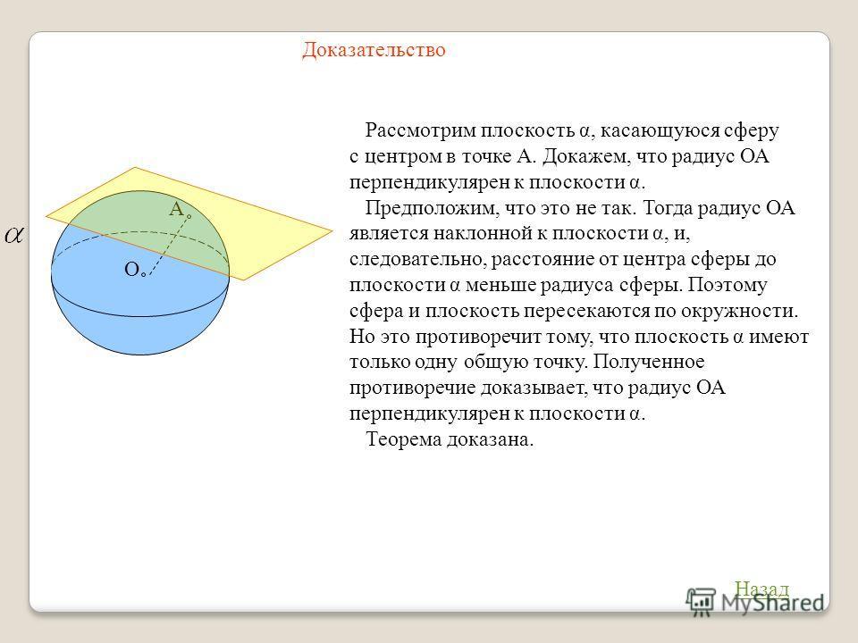 Доказательство О А Назад Рассмотрим плоскость α, касающуюся сферу с центром в точке А. Докажем, что радиус ОА перпендикулярен к плоскости α. Предположим, что это не так. Тогда радиус ОА является наклонной к плоскости α, и, следовательно, расстояние о