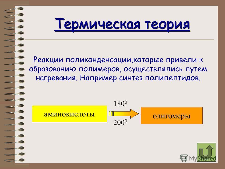Теории возникновения полимерных структур на нашей планете можно разделить на следующие теории Теории термическая адсорбции низкотемпературные коацерватная