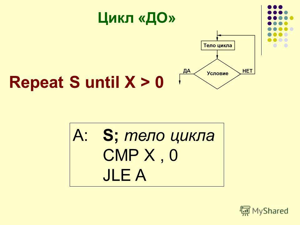 Цикл «ДО» A:S; тело цикла CMP X, 0 JLE A Repeat S until X > 0