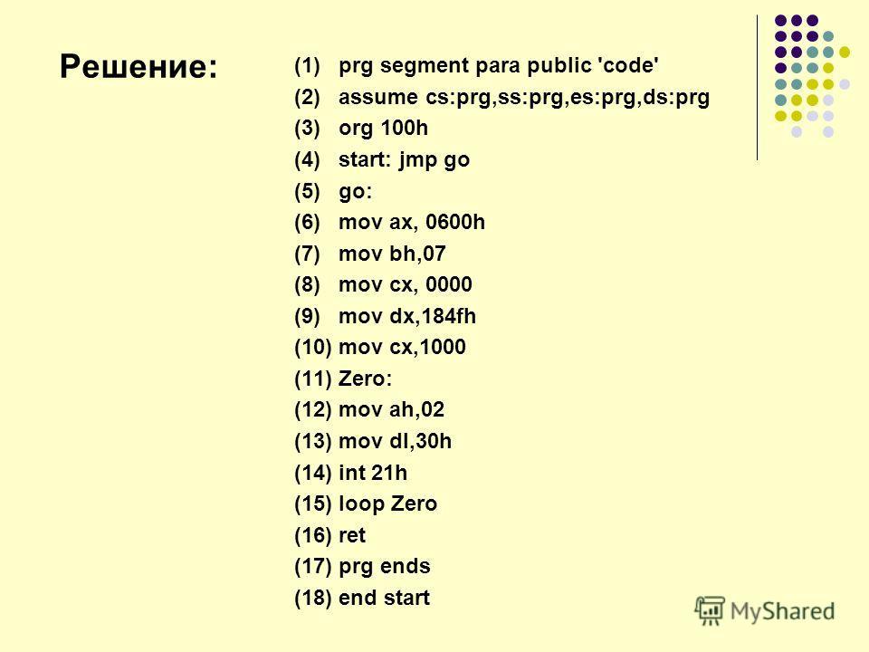 (1) prg segment para public 'code' (2) assume cs:prg,ss:prg,es:prg,ds:prg (3) org 100h (4) start: jmp go (5) go: (6) mov ax, 0600h (7) mov bh,07 (8) mov cx, 0000 (9) mov dx,184fh (10) mov cx,1000 (11) Zero: (12) mov ah,02 (13) mov dl,30h (14) int 21h