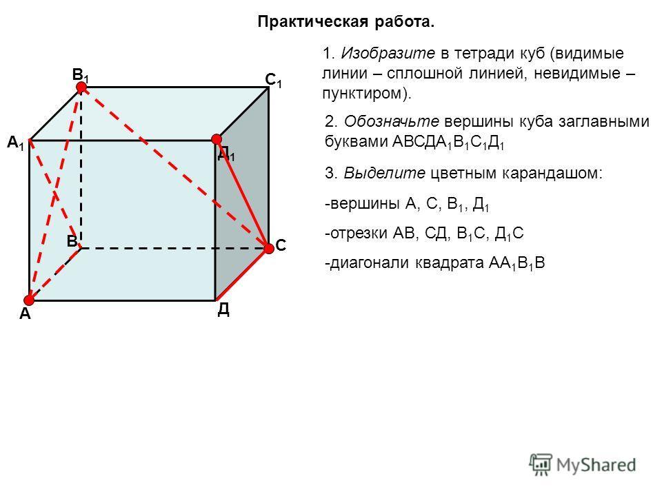 Практическая работа. 1. Изобразите в тетради куб (видимые линии – сплошной линией, невидимые – пунктиром). 2. Обозначьте вершины куба заглавными буквами АВСДА 1 В 1 С 1 Д 1 А В С Д Д1Д1 С1С1 В1В1 А1А1 3. Выделите цветным карандашом: -вершины А, С, В
