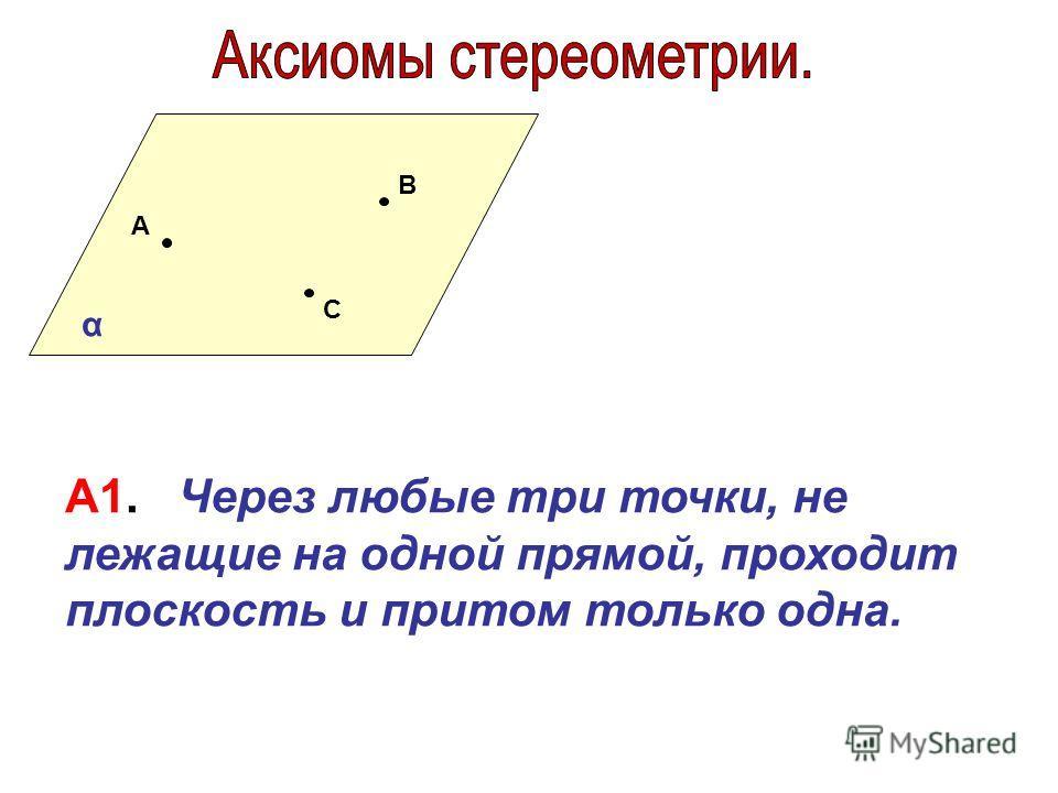 А В С А1. Через любые три точки, не лежащие на одной прямой, проходит плоскость и притом только одна. α