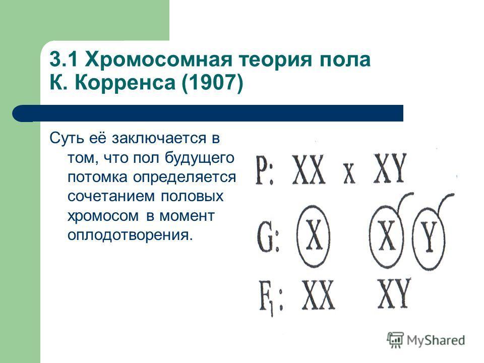 3.1 Хромосомная теория пола К. Корренса (1907) Суть её заключается в том, что пол будущего потомка определяется сочетанием половых хромосом в момент оплодотворения.
