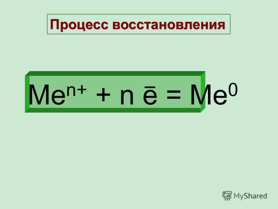 Ме n+ + n e = Ме 0 _ Процесс восстановления