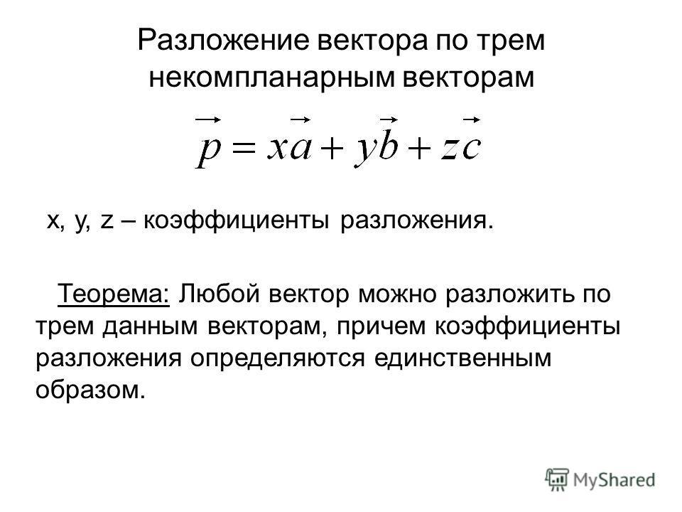 Разложение вектора по трем некомпланарным векторам x, y, z – коэффициенты разложения. Теорема: Любой вектор можно разложить по трем данным векторам, причем коэффициенты разложения определяются единственным образом.