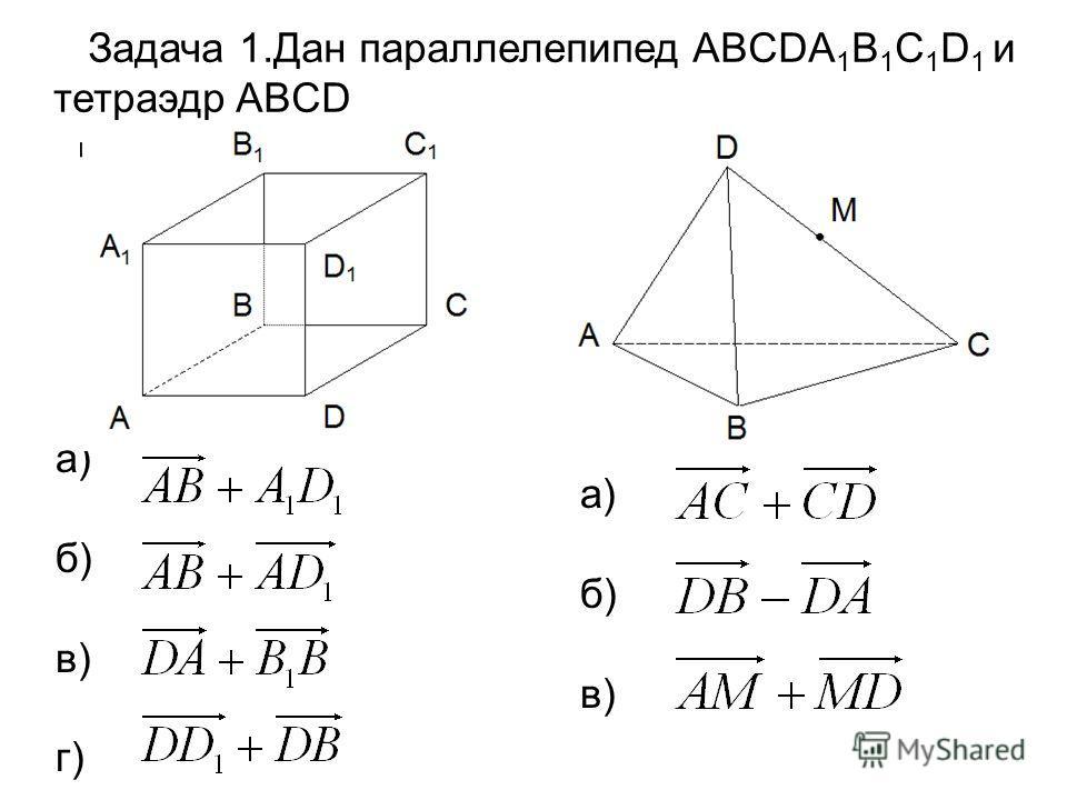 Задача 1.Дан параллелепипед ABCDA 1 B 1 C 1 D 1 и тетраэдр ABCD а) б) в) г) а) б) в)