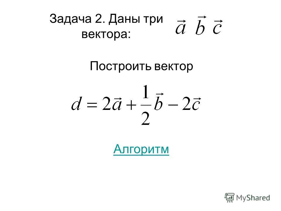 Задача 2. Даны три вектора: Построить вектор Алгоритм