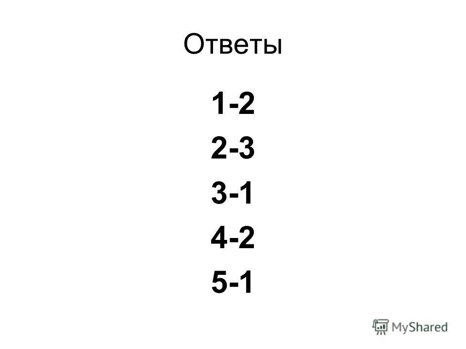 Ответы 1-2 2-3 3-1 4-2 5-1