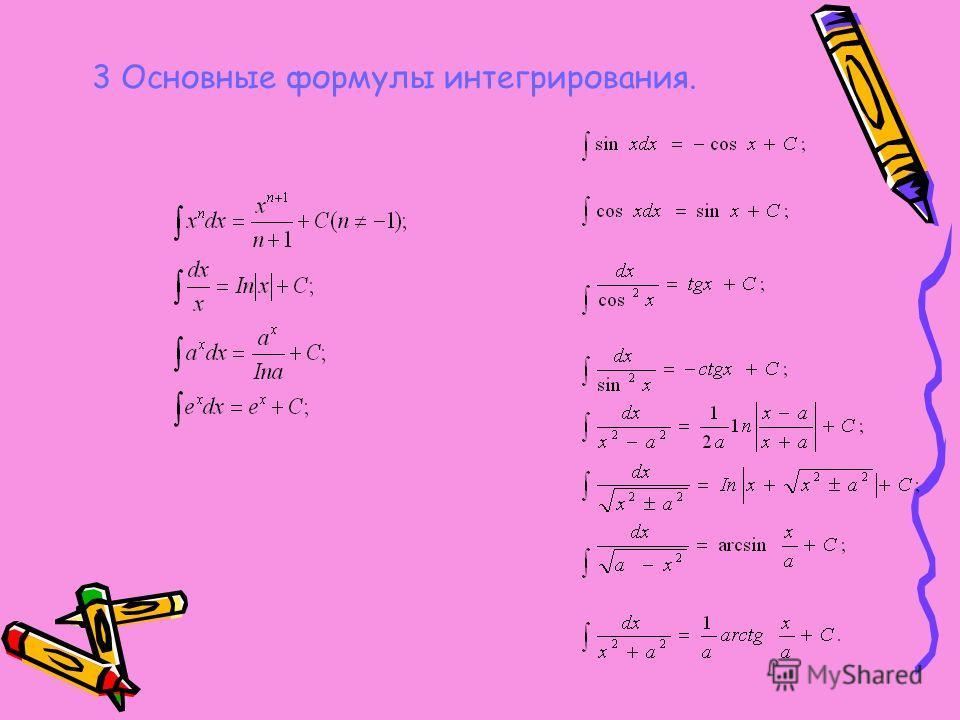 3 Основные формулы интегрирования.