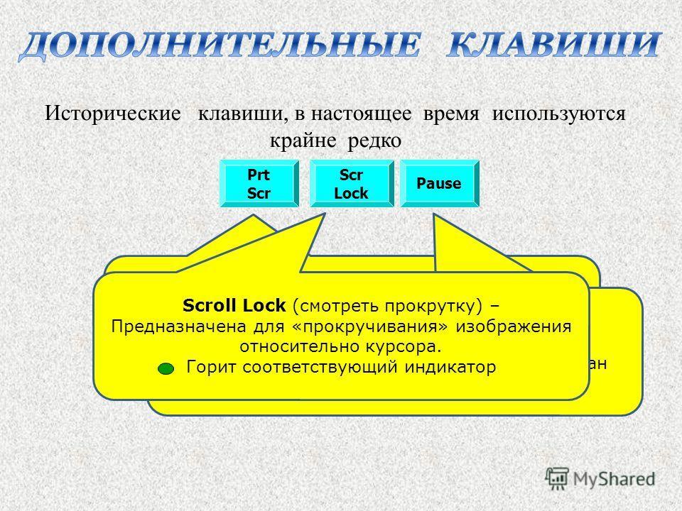 Prt Scr Pause Scr Lock Print Screen (распечатать экран) – в среде DOS распечатывает содержимое экрана, в среде Windows создаёт копию текущего изображения экрана в буфер обмена Pause (пауза, остановка) – Приостанавливает вывод информации на экран Исто