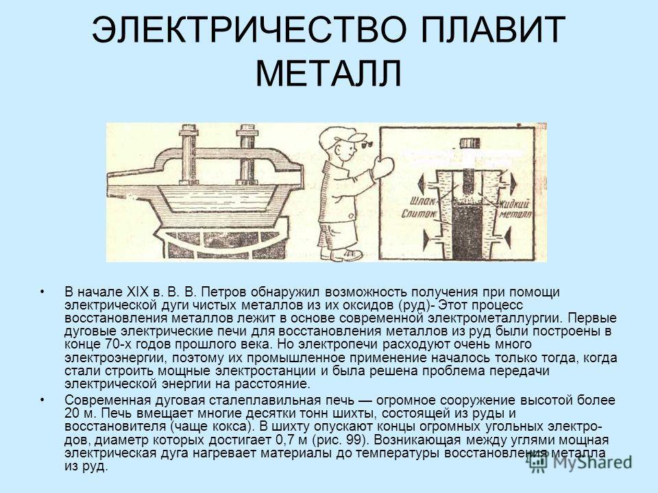 ЭЛЕКТРИЧЕСТВО ПЛАВИТ МЕТАЛЛ В начале XIX в. В. В. Петров обнаружил возможность получения при помощи электрической дуги чистых металлов из их оксидов (руд)- Этот процесс восстановления металлов лежит в основе современной электрометаллургии. Первые ду