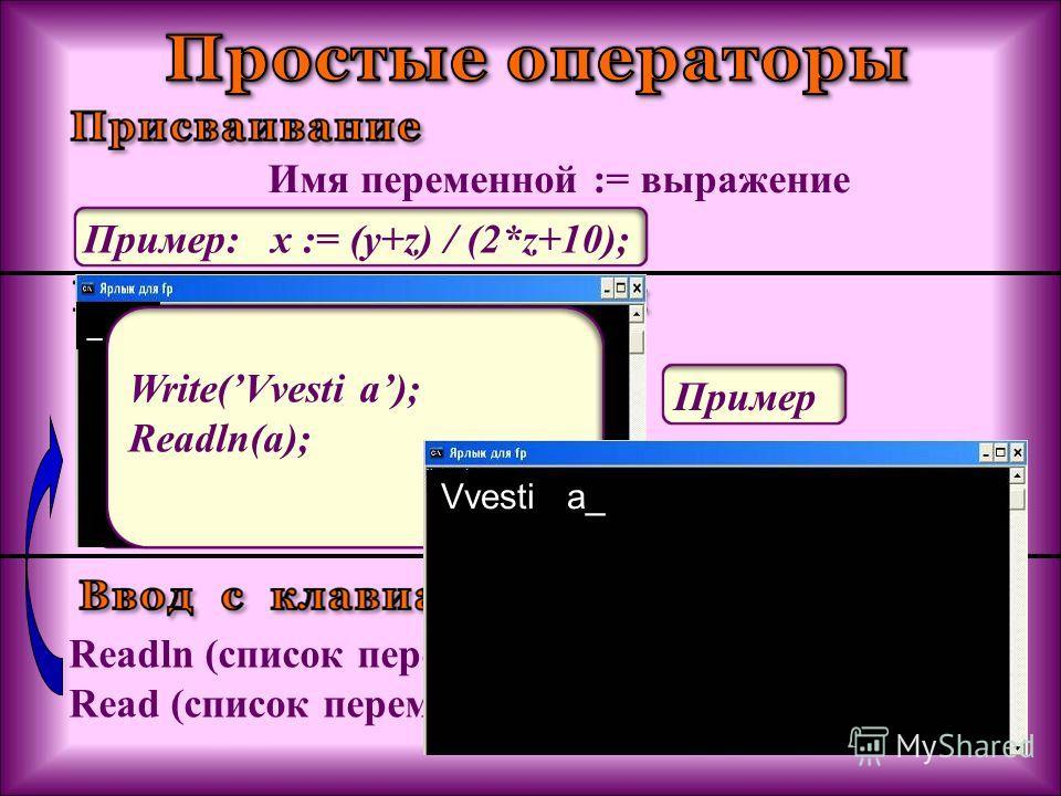 Имя переменной := выражение Пример: x := (y+z) / (2*z+10); Readln (список переменных); Read (список переменных); Пример: Read( x); Readln(a, b, c); Write (список вывода); Writeln (список вывода); Пример: Write(x=, x); Writeln (a, b, c); _ Этот операт