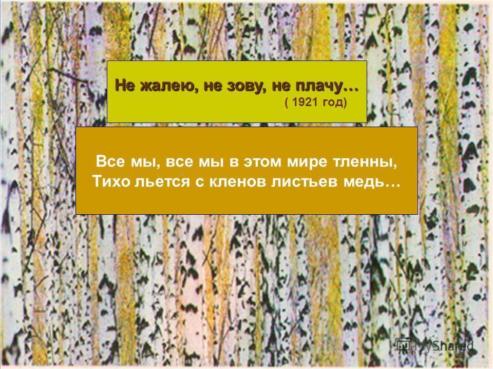 Не жалею, не зову, не плачу… ( 1921 год) Все мы, все мы в этом мире тленны, Тихо льется с кленов листьев медь…