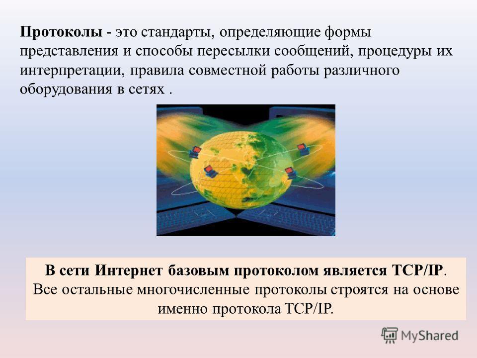 Протоколы - это стандарты, определяющие формы представления и способы пересылки сообщений, процедуры их интерпретации, правила совместной работы различного оборудования в сетях. В сети Интернет базовым протоколом является TCP/IP. Все остальные многоч