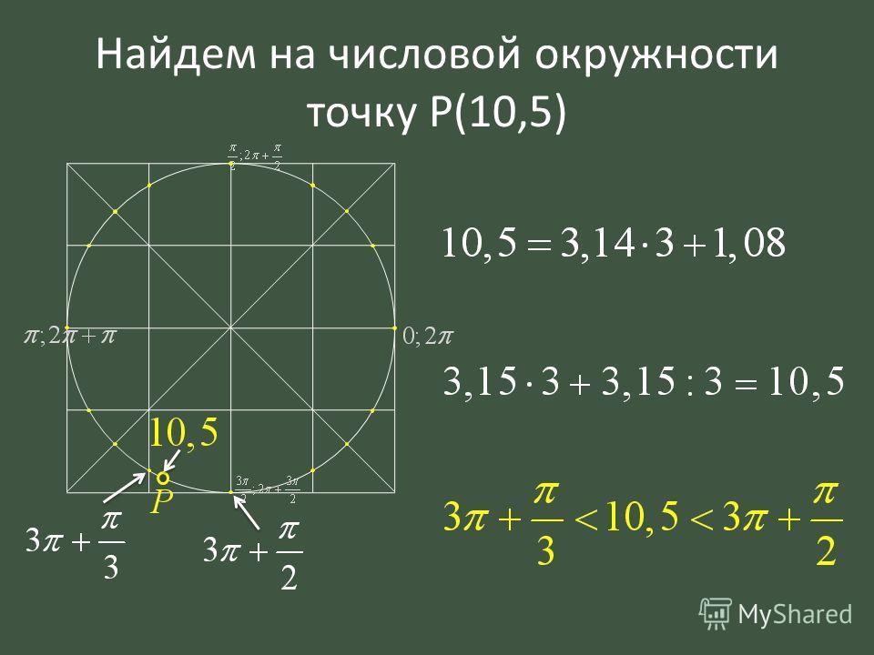 Найдем на числовой окружности точку P(10,5)