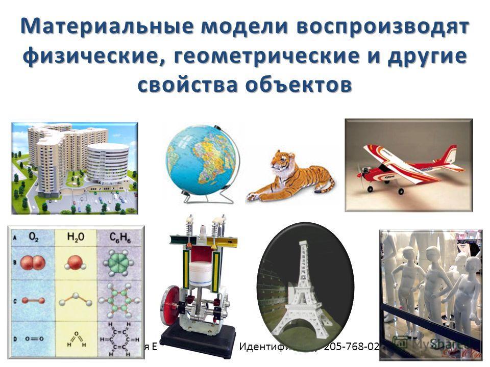 Троицкая Елена Ивановна Идентификатор 205-768-029 Материальные модели воспроизводят физические, геометрические и другие свойства объектов