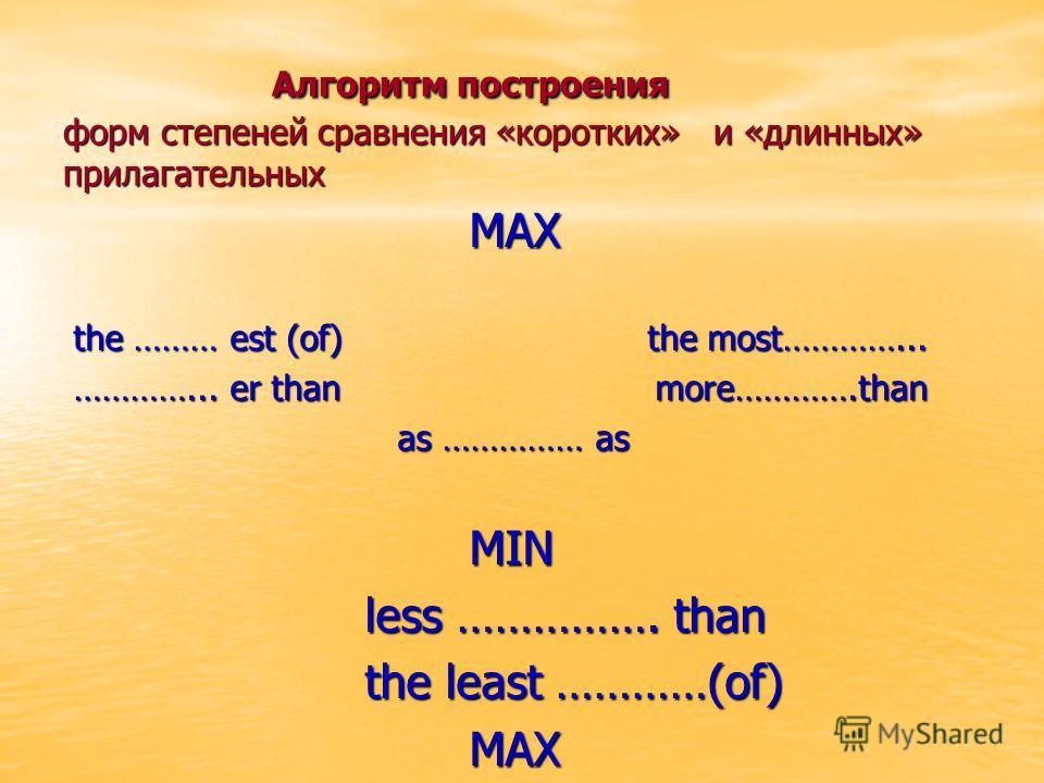 Алгоритм построения форм степеней сравнения «коротких» и «длинных» прилагательных Алгоритм построения форм степеней сравнения «коротких» и «длинных» прилагательных MAX MAX the ……… est (of) the most…………... the ……… est (of) the most…………... …………... er t