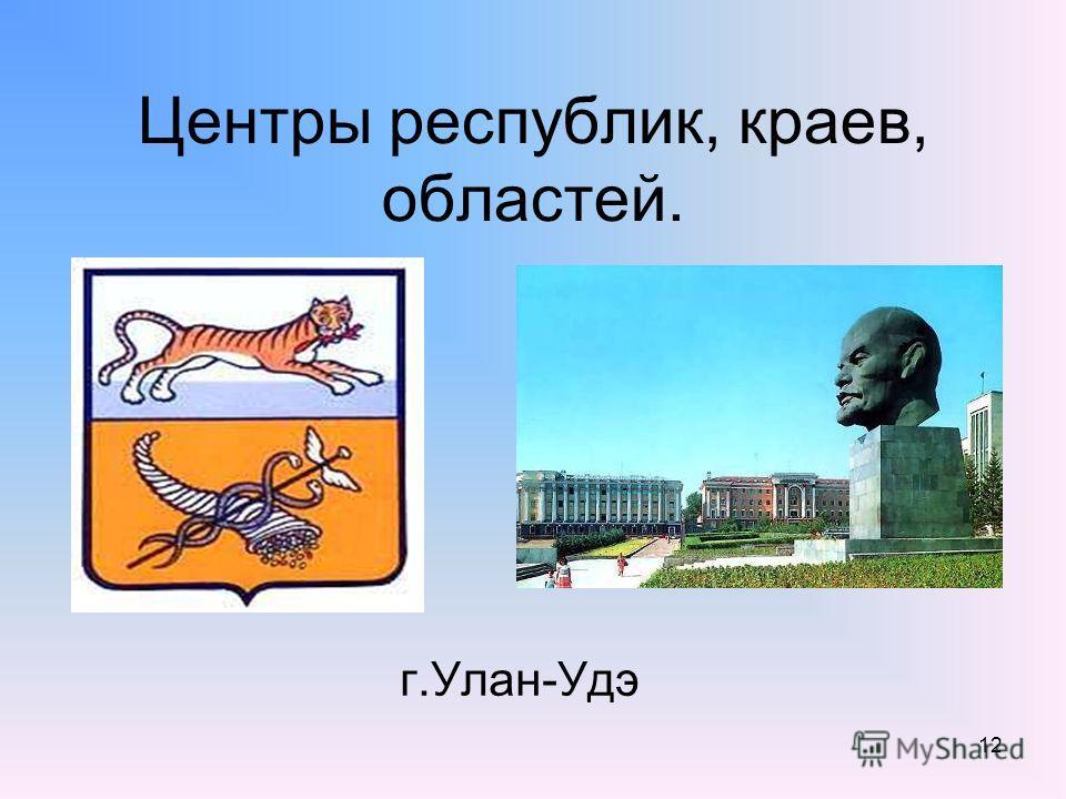 12 Центры республик, краев, областей. г.Улан-Удэ