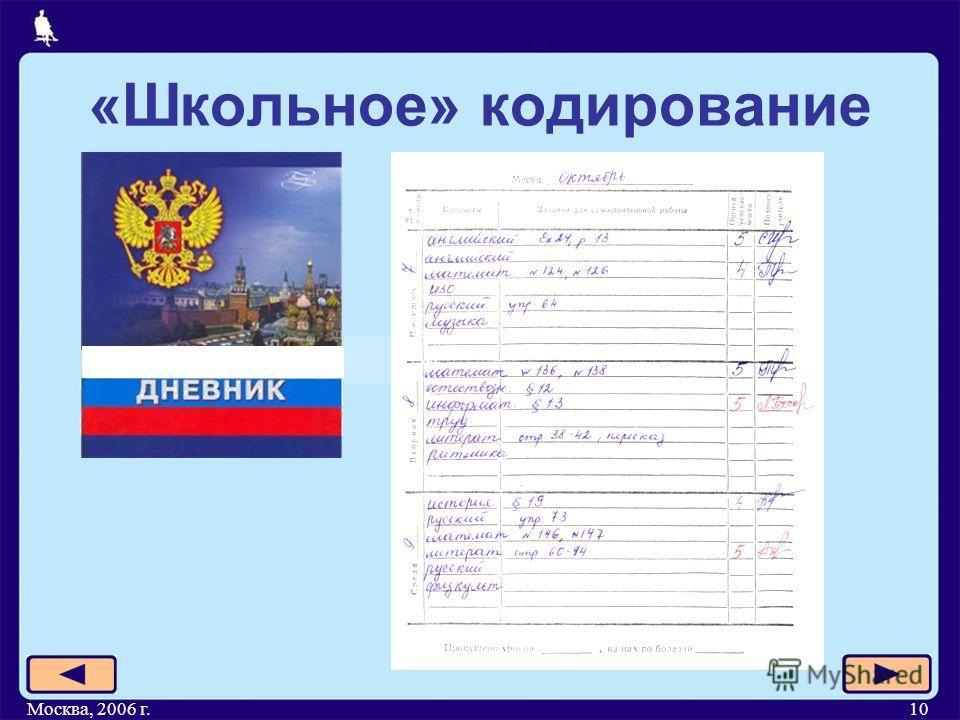 Москва, 2006 г.10 «Школьное» кодирование