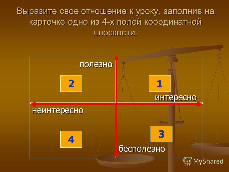 Выразите свое отношение к уроку, заполнив на карточке одно из 4-х полей координатной плоскости. полезно полезно интересно интересно неинтереснобесполезно 4 2 3 1